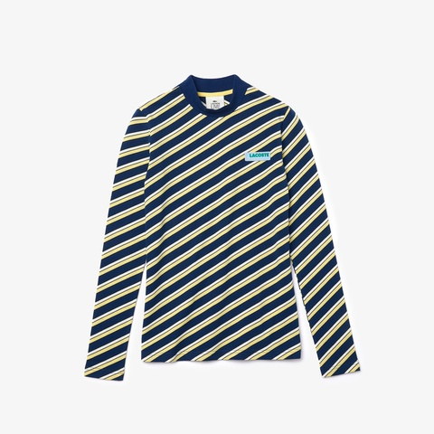 LACOSTE L!VE鹿の子地ボーダーハイネックカットソー